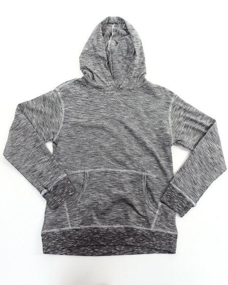 Arcade Styles Boys Black Slub Jersey Hooded Pullover Top (8-20)