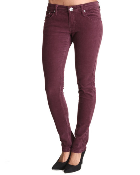 Basic Essentials - Women Purple 5 Pocket Cords Pants
