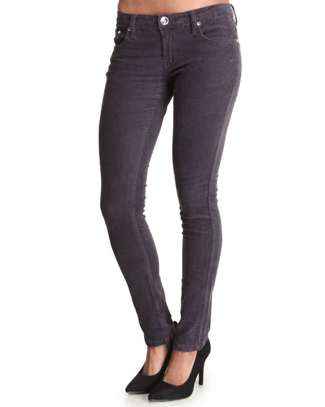 Basic Essentials - Women Grey 5 Pocket Cords Pants - $11.99