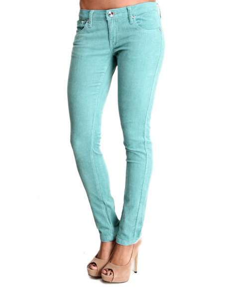 Basic Essentials - Women Blue 5 Pocket Cords Pants