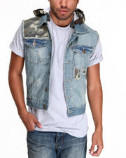 Outerwear - Hooded Camo Denim Vest