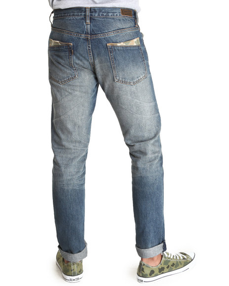 Crooks & Castles - Men Medium Wash Bullseye Denim Jeans