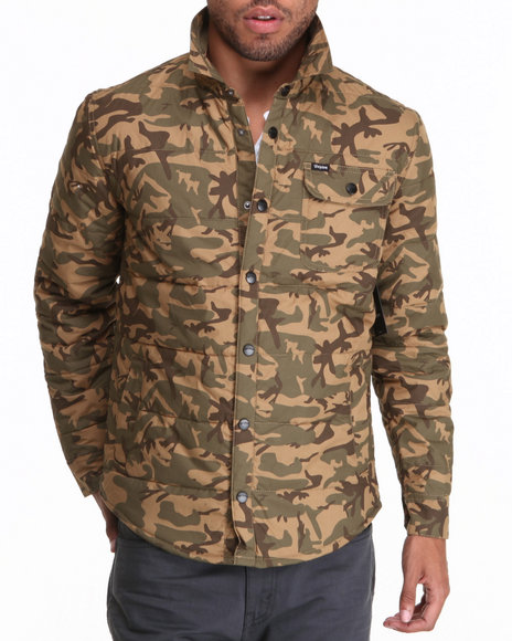 Brixton - Men Camo Cass Lightweight Quilted Cotton Snap Jacket