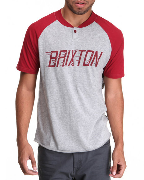 Brixton - Men Grey,Maroon Rover Henley S/S Tee