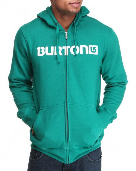 Burton Green Logo Horizontal Full-Zip Hoodie