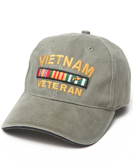 Drj Army/Navy Shop Men Vietnam Vet Deluxe Low Profile Insignia Cap Olive