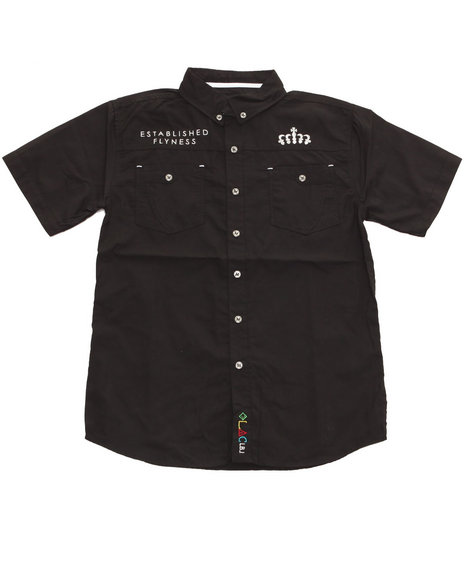 Blac Label Boys SS Embroidered Woven 820 Black 1012 M