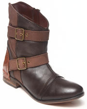 Footwear - Buckle Trim Leather Colorblock Bootie