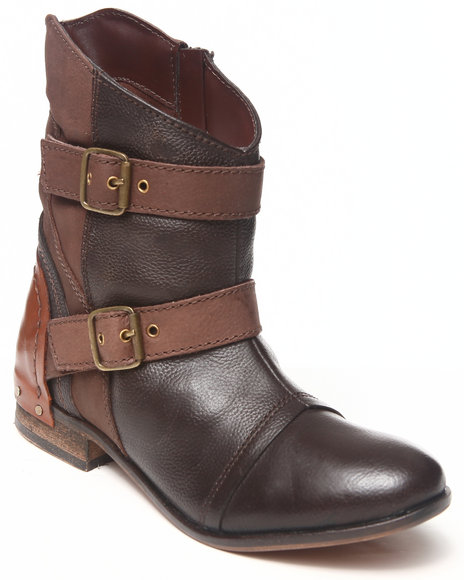 Naughty Monkey - Women Brown Buckle Trim Leather Colorblock Bootie