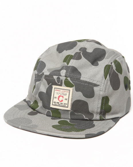 Crooks & Castles Men Long Range 5 Panel Cap Camo