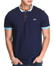 Men - L!Ve Geometric Pattern Rib Trim Pique Polo