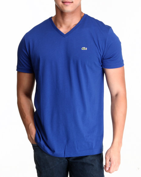 Lacoste - Men Blue S/S Pima Jersey V-Neck Tee