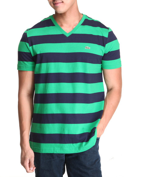 Lacoste Men SS Bar Stripe VNeck Tee Green 3XLarge