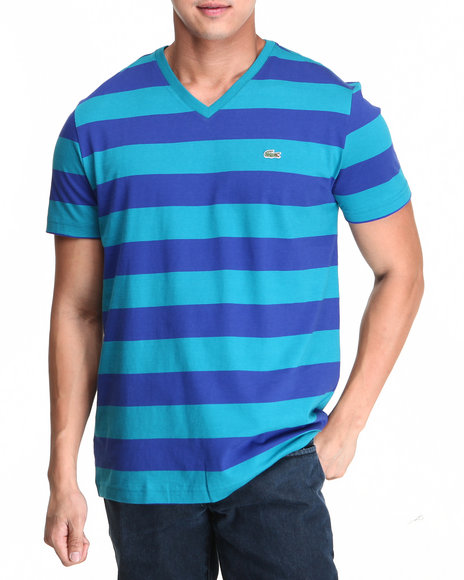 Lacoste - Men Blue S/S Bar Stripe V-Neck Tee