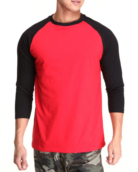 Basic Essentials - Men Red,Black 3/4 Sleeve Raglan Tee