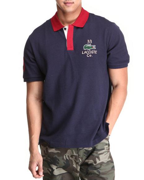 Lacoste - Men Blue,Red S/S Applique Croc Pique Polo