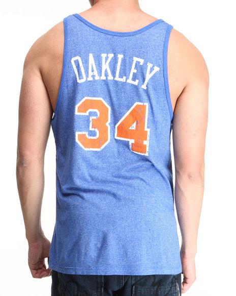 Nba, Mlb, Nfl Gear - Men Blue New York Knicks Charles Oakley Vintage Player Tri Blend Tank Top (Drjays.Com Exclusive)