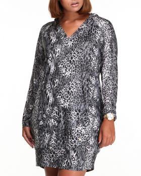 Apple Bottoms - Liquid Cheetah Printed Hoodie Dress (Plus)