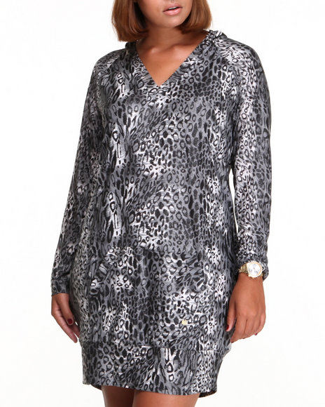Apple Bottoms - Women Animal Print Liquid Cheetah Printed Hoodie Dress (Plus)