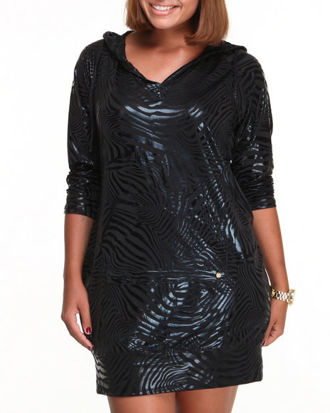 Apple Bottoms - Women Black Liquid Zebra Printed Hoodie Dress (Plus)