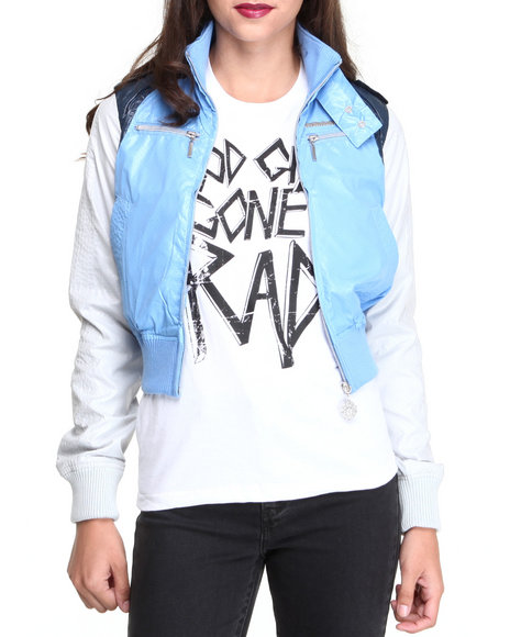 Live Mechanics Blue Faux Leather Jacket