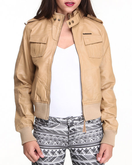 Live Mechanics Beige Vegan Leather Jacket