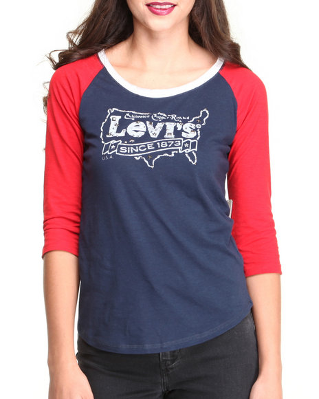 Levi's Navy 3/4 Sleeve Color Blocked Raglan Tee W/Studs