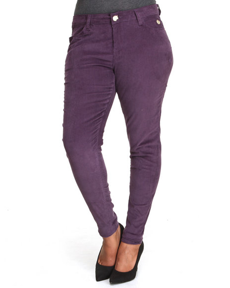 Apple Bottoms - Women Purple Skinny Corduroy Jean (Plus)