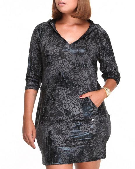 Apple Bottoms - Women Black Liquid Animal Printed Hoodie Dress (Plus)