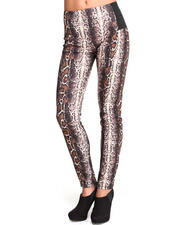 Women - High Waisted Snake Print Ponte Leggings