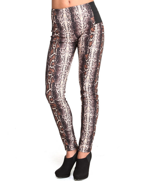 Basic Essentials - Women Brown High Waisted Snake Print Ponte Leggings