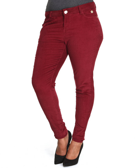 Apple Bottoms - Women Maroon Skinny Corduroy Jean (Plus)