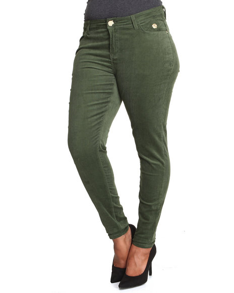 Apple Bottoms - Women Olive Skinny Corduroy Jean (Plus)