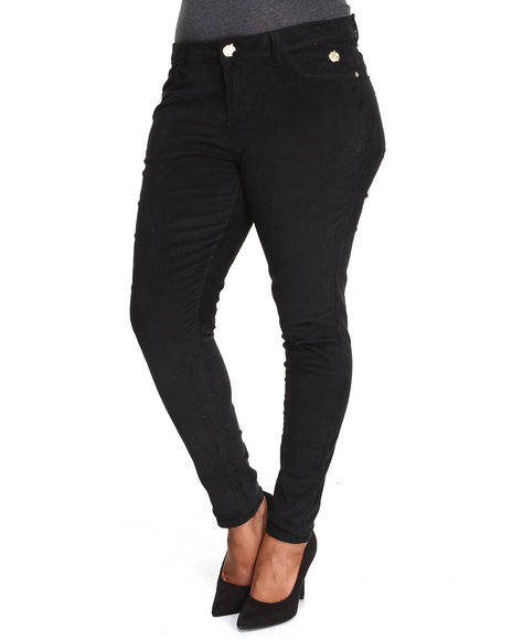 Apple Bottoms - Women Black Skinny Corduroy Jean (Plus)
