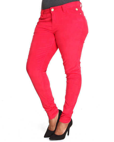 Apple Bottoms - Women Red Skinny Corduroy Jean (Plus)