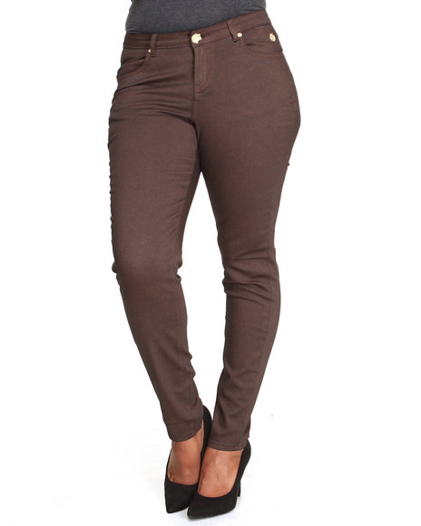 Apple Bottoms - Women Brown Metallic Finish Skinny Jean (Plus)