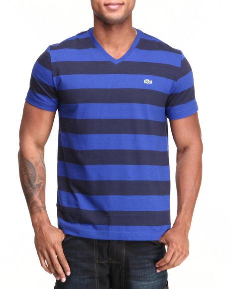Lacoste Blue,Navy S/S Bar Stripe V-Neck Tee
