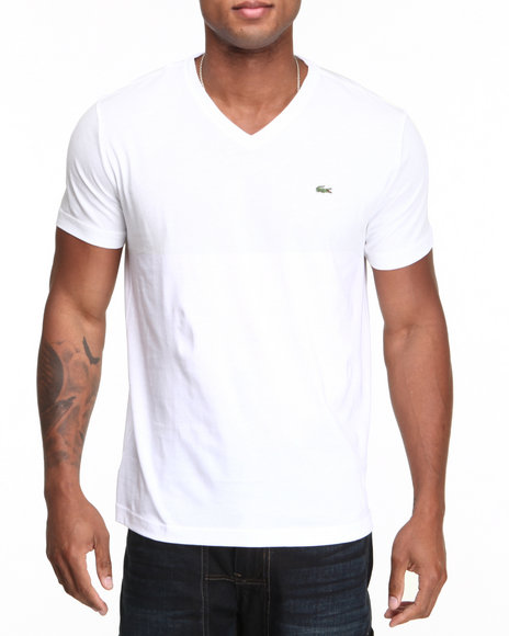 Lacoste White S/S Pima Jersey V-Neck Tee
