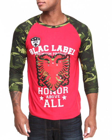 Blac Label Men Red Camo - Sleeve 3/4 Raglan Tee