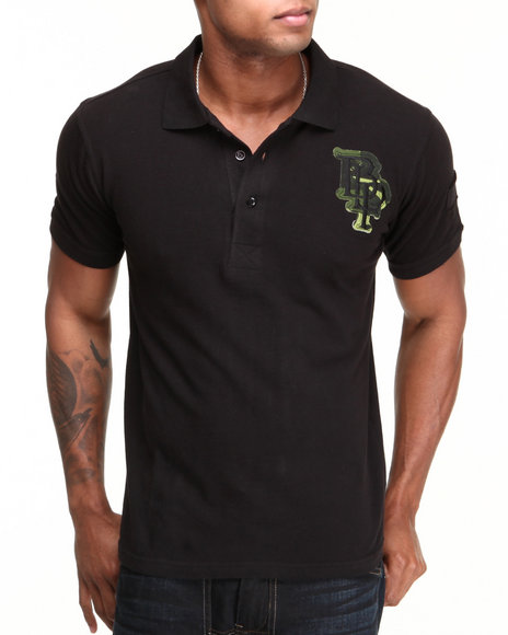 Blac Label Men Black Camo Wing S/S Polo