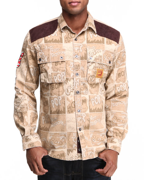Heritage America Khaki Angry & Aggressive Constructed Twill Button-Down