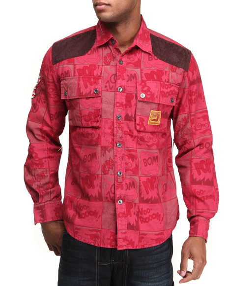Heritage America Men Angry amp Aggressive Constructed Twill ButtonDown Red Large