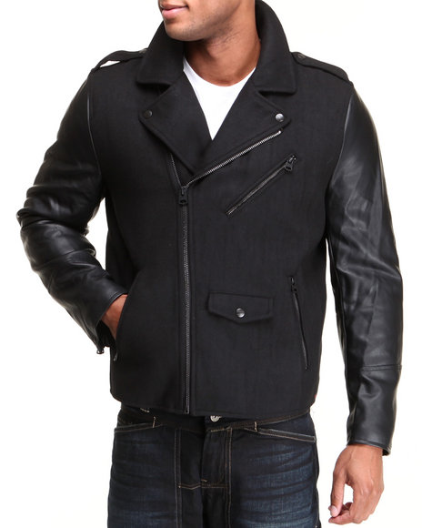 Levi's Black Moto Jacket W/ Pu Sleeves