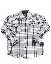 Cyber Monday Shop - Boys - ROLL SLEEVE PLAID WOVEN (8-20)