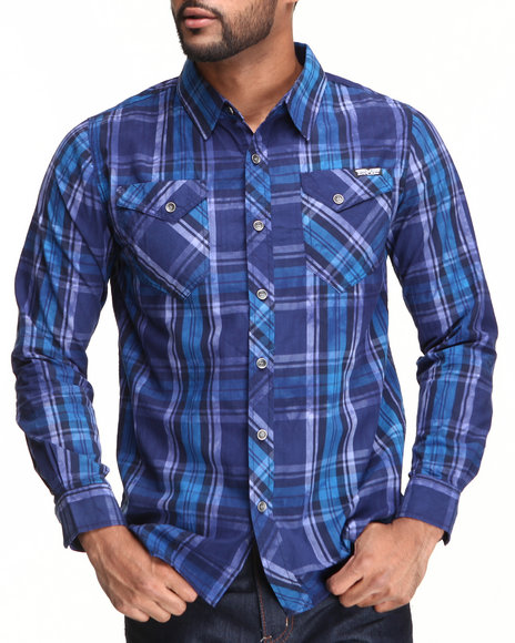 Mo7 - Men Blue Garment Dyed Plaid Button Down Shirt