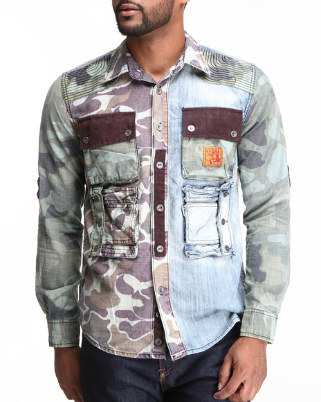 Heritage America Light Wash See You Coming Camo / Denim Mix Button-Down