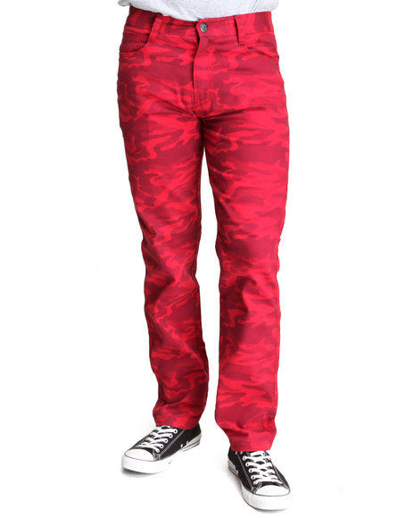 Mo7 - Men Red Twill Color Slim/Straight Fit Pants
