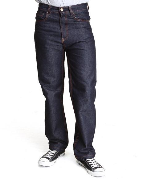 MO7 Dark Wash Raw Wash Contrast Stitch Straight Fit Denim Jeans