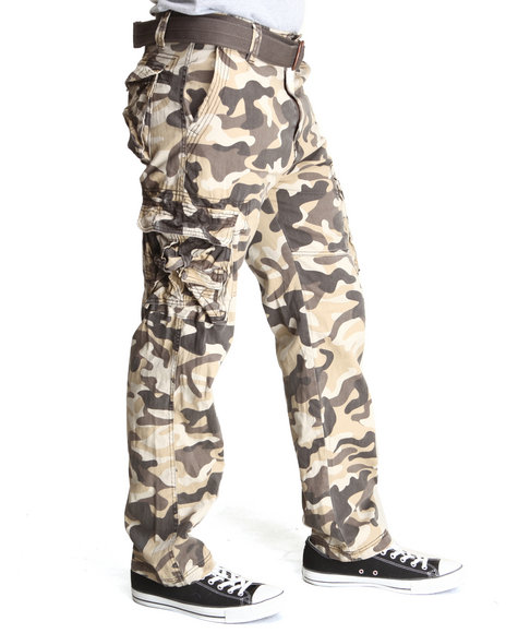 Mo7 - Men Brown,Camo Allover Camouflage Cargo Pants