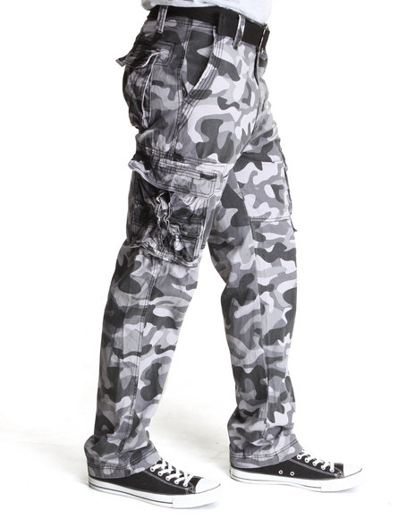 Mo7 - Men Camo,Black,Grey Allover Camouflage Cargo Pants
